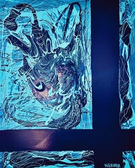 """Blue Chaos Latex & Acrylic on Canvas 47.5"""" x 39.5"""""""