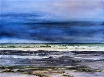"Pending Storm Rio Del Mar Watercolor on Paper 18"" x 24"""