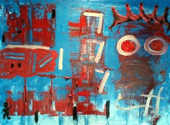 """Triple Siete Acrylic on Canvas 24"""" x 36"""""""