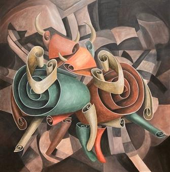 "Minoa Acrylic on Canvas 39.5"" x 39.5"""