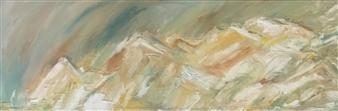 "Untitled Landscape II Acrylic on Canvas 12"" x 36"""