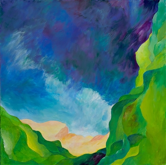 "Emerald Cliffs Acrylic on Canvas 24"" x 24"""