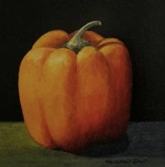 """Still Life with Pepper Mixed Media on Canvas 6"""" x 6"""""""