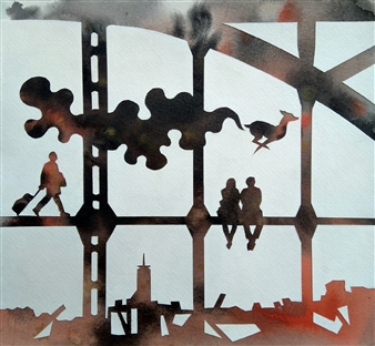 """Transit - 50 Watercolor on Paper 10"""" x 11"""""""