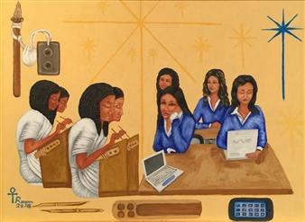 "Girls School Oil on Canvas 34"" x 42"""