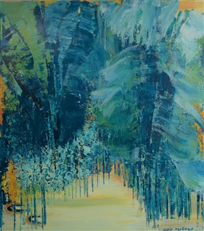 "Blue Jungle Mixed Media on Canvas 63"" x 55"""