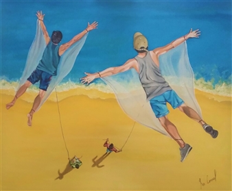"""PAPALOTE  (Just as many people fly aimlessly, they stay until the wind stops or they let go of you) Oil on Canvas 31.5"""" x 35.5"""""""