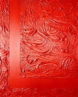 """Red Lava Gesso, Acrylic & Spray Paint on Canvas 39.5"""" x 31.5"""""""