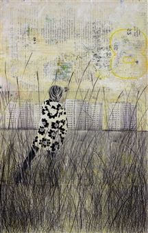 """Yellow Pasture Acrylic & Collage on Paper 20"""" x 13"""""""
