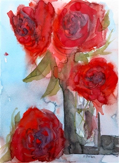 """Red Roses Watercolor on Paper 12"""" x 9"""""""