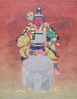 """Classical Japanese-style Armored Wear of Teishunten Mixed Media on Japanese Paper 16"""" x 12.5"""""""