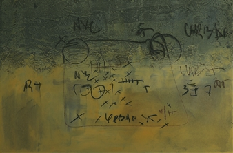 "Graffiti y Mirada Escena 14 Mixed Media on Wood 11"" x 16"""