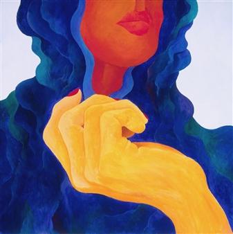 """Blue Shawl Acrylic on Canvas 30"""" x 30"""""""