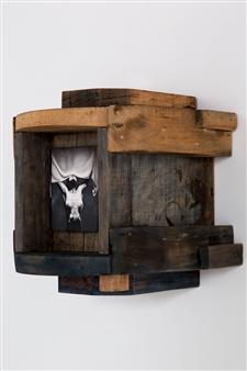 "Anima II Oil and Pyrogravure on Wood 14"" x 12"" x 12.5"""