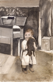 1920 Boy and His Cat