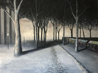 """Park Path at Night Acrylic & Ink on Canvas 36"""" x 48"""""""