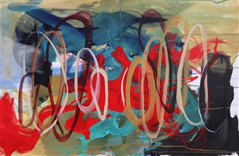 """Connecting Vibrations Acrylic & Oil Pastel on Canvas 24"""" x 36"""""""