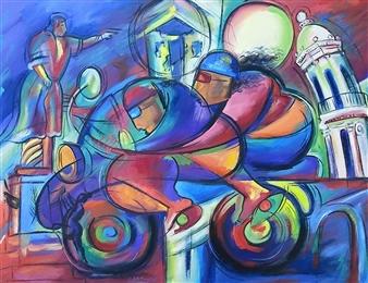 """Descubrimiento y Diversión Oil on Canvas 30"""" x 40"""""""