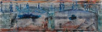 "Souls of the Bridge Oil on Canvas 8"" x 23.5"""