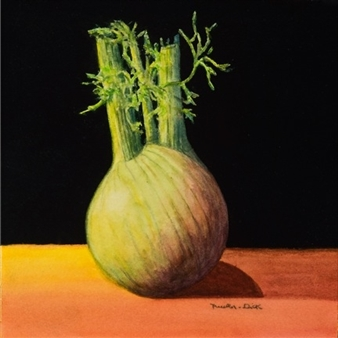 """Still Life with Anise Watercolor & Varnish on Panel 6"""" x 6"""""""