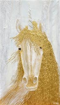 "Unicorn / Magic Room Acrylic & 24 Karat Gold on Canvas 75"" x 43.5"""