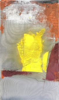 """Suspensio Oil on Foil, Clay and Metal Mesh Net Holder 27.5"""" x 15.5"""""""