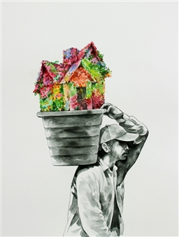 """Man Carrying A Flower House Watercolor on Paper 12"""" x 9"""""""
