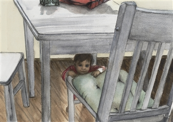 "Toddler Peek a Boo Giclee Print 22"" x 30"""