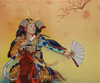 """Mountain Warrior of the Heian Perio  (And Plum Blossoms) Mixed Media on Japanese Paper 15"""" x 18"""""""