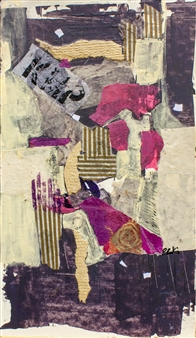 "Sunset Acrylic & Collage on Canvas 15"" x 10"""