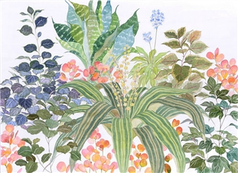 """Colorful Bunch Watercolor on Paper 16"""" x 22"""""""