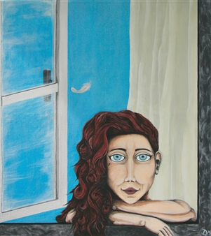"""Dreaming.. Acrylic on Canvas 31.5"""" x 28"""""""