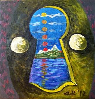 "The Hermit Acrylic on Canvas 8"" x 8"""