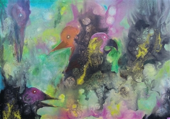 "Eingesperrt Acrylic on Canvas 20"" x 28"""
