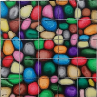 """Sassi in gabbia 1  (Caged Stones 1) Acrylic on Canvas 39.5"""" x 39.5"""""""