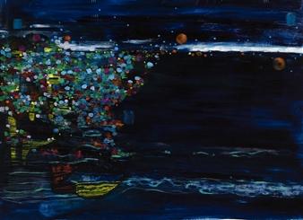 "Night Sea of the Haeundae Oil 29"" x 39"""