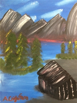 """Mountainside cabin Oil on Canvas 18"""" x 24"""""""