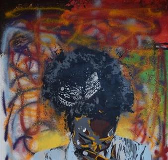 "Serendipity Acrylic & Spraypaint on Canvas 36"" x 36"""
