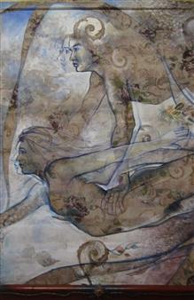 "Danza Marina Acrylic & Pastel 70"" x 46"""