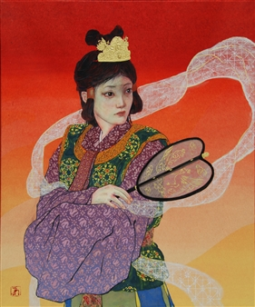 """Change over time (Emperor Zitou) Mixed Media on Japanese Paper 18"""" x 15"""""""