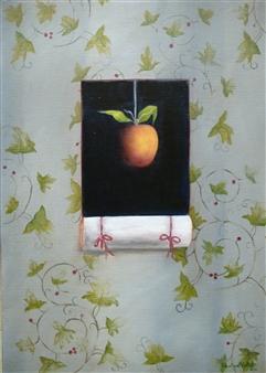 "Pommes Avec Arabesques Fond Bleu Oil on Canvas 18.5"" x 14"""