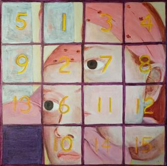 "Fifteen Puzzle: Gypsy Girl Acrylic on Canvas 12"" x 12"""