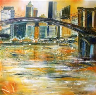 "Brooklyn Bridge in a Golden Light Acrylic on Canvas 39.5"" x 39.5"""