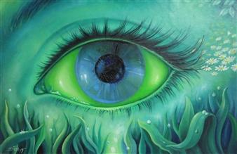 "Mirada Verde Oil on Canvas 12"" x 17"""