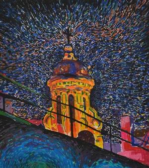 "Illuminated Church. Pastel on Paper 19"" x 16.5"""