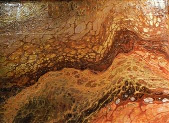"Red Rocks In Winter Acrylic on Wood 9"" x 12"""