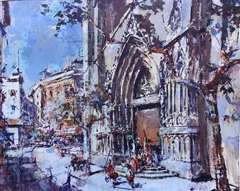 "Santa Maria del Mar, Barcelona Acrylic on Canvas 32"" x 39.5"""
