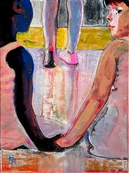 "NO CONCEPT OF BLACK/WHITE: Ballerina Girls Acrylic on Canvas 16"" x 12"""