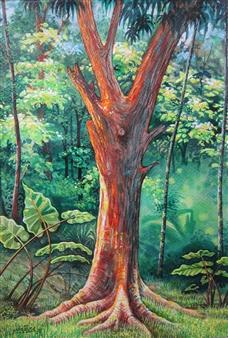 "Bosque Watercolor on Paper 20"" x 13.5"""