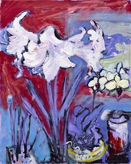 "White Amaryllis with Paint-pot and Brushes Acrylic on Canvas 30"" x 24"""